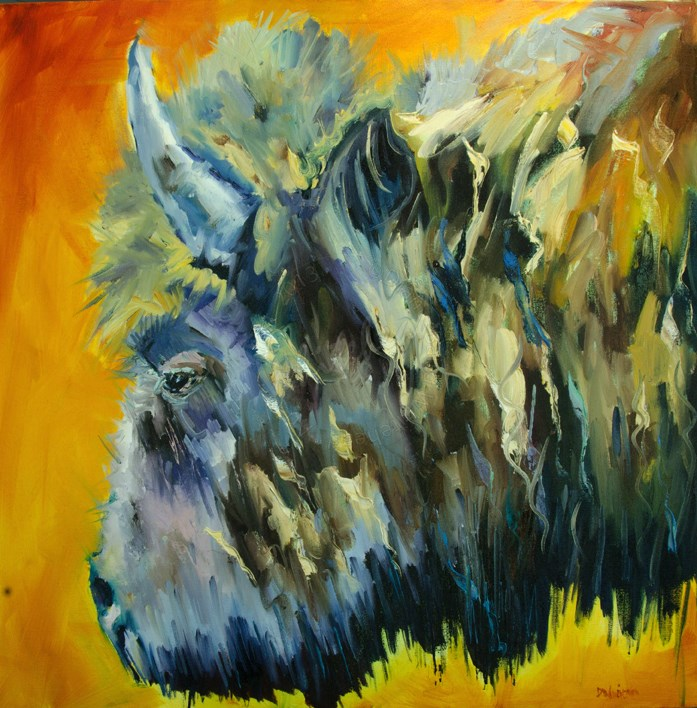"""ARTOUTWEST BISON WILDLIFE Diane Whitehead Fine Art oil painting original"" original fine art by Diane Whitehead"