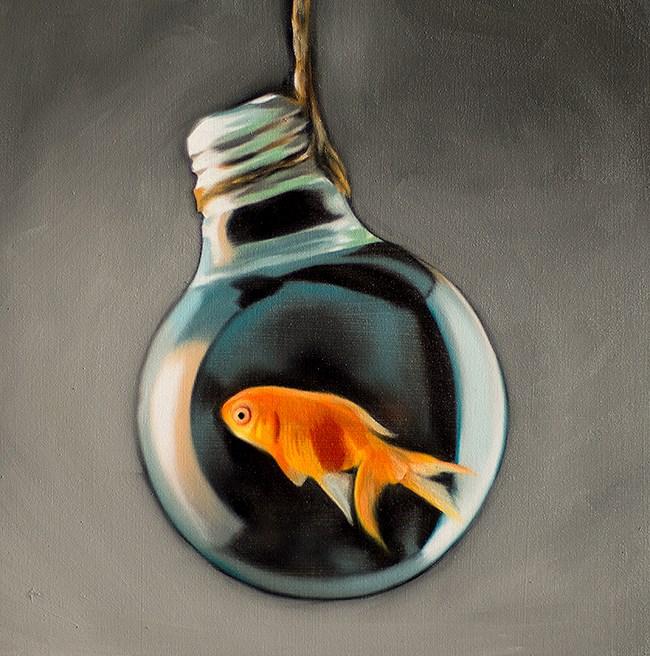 """Goldfish Light Bulb #13"" original fine art by Lauren Pretorius"