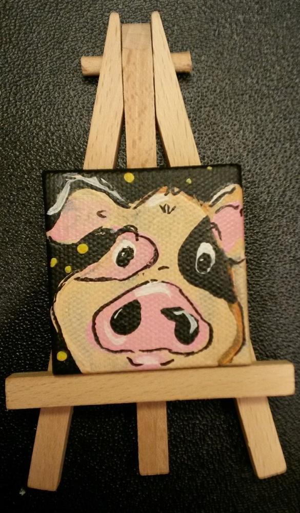 """Itty Bitty Pig-Day 28-30 Paintings in 30 Days"" original fine art by Terri Einer"