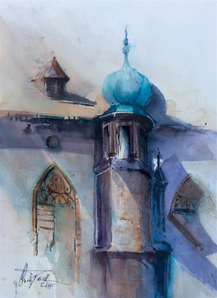 """Detail Castle Perchtoldsdorf"" original fine art by Christa Friedl"