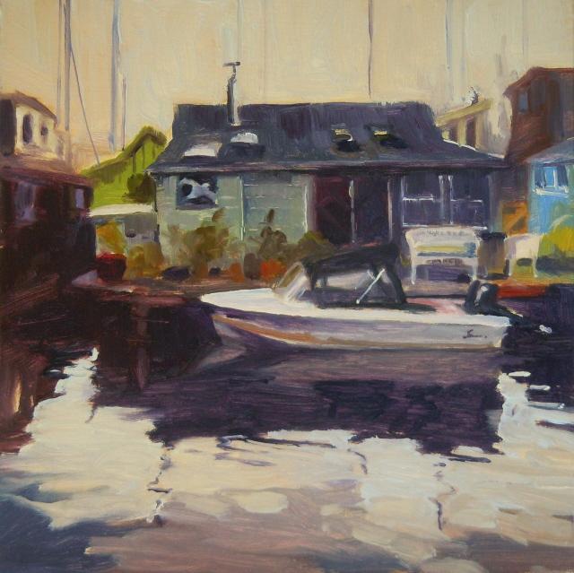 """Lake Union Boathouse   urban marine scenes , Seattle"" original fine art by Robin Weiss"