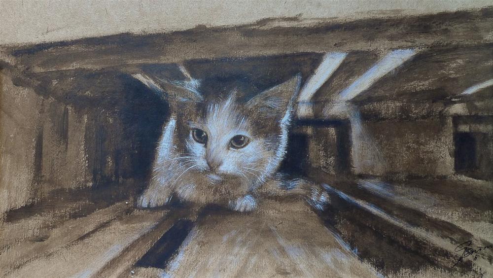 """""""Come out!"""" original fine art by Elena Senina"""
