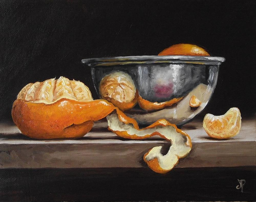 """""""Clementine with silver bowl"""" original fine art by Jane Palmer"""