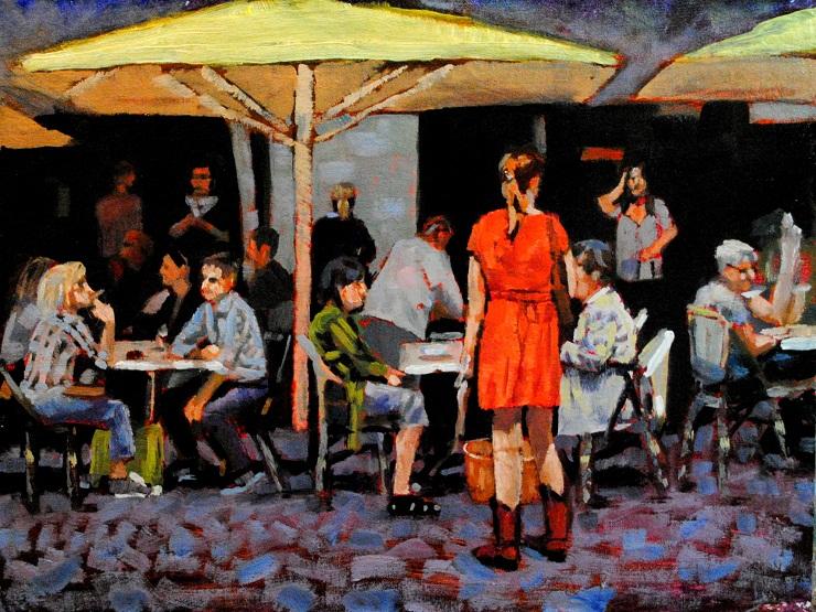 """""""Paris Cafe 9x12 oil on linen"""" original fine art by David Larson Evans"""