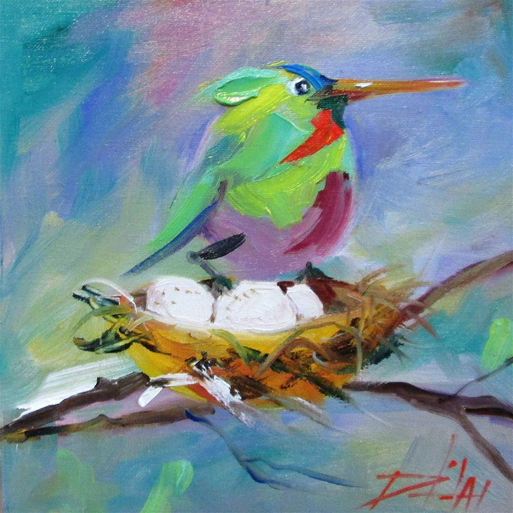 """Hummingbird and Nest"" original fine art by Delilah Smith"