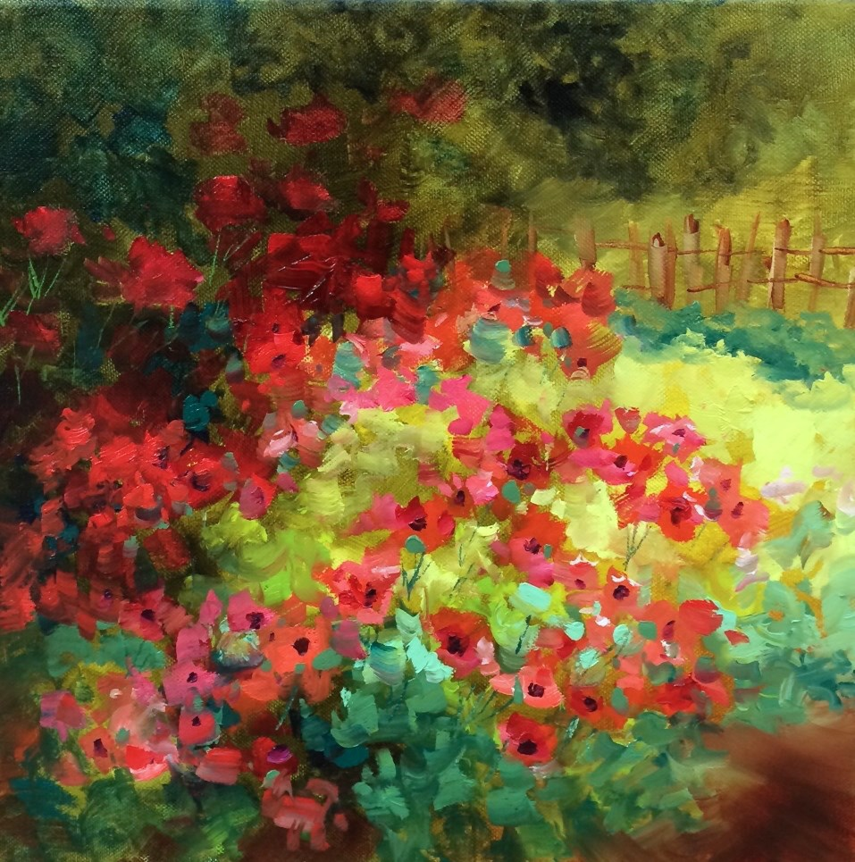 """""""Countdown to France! Field of Dreams Poppies and Learning the Lingo - Nancy Medina Art Videos and Classes"""" original fine art by Nancy Medina"""