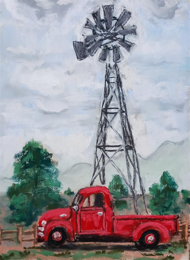 """Red Truck"" original fine art by Phyllisha Hamrick"
