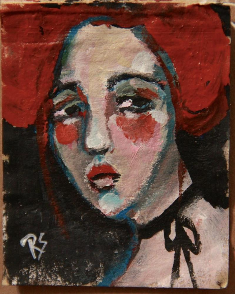 """Tea Bag Portrait - Felicia"" original fine art by Roberta Schmidt"