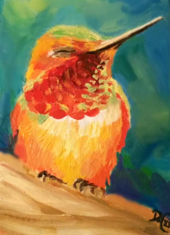 """Sleeping Hummer"" original fine art by Dana C"