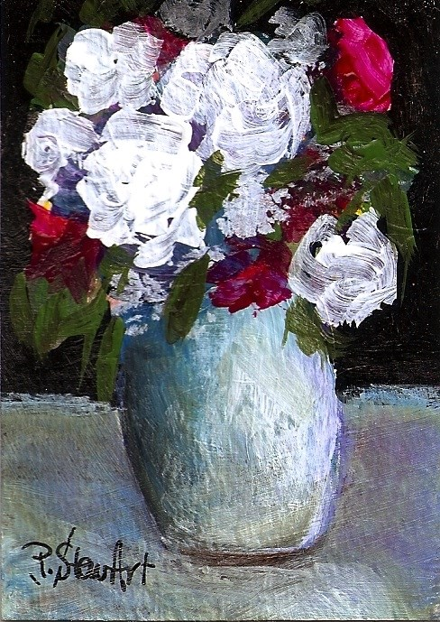 """ACEO Acrylic White and Magenta Roses Vase Painterly Style SFA Penny StewArt"" original fine art by Penny Lee StewArt"