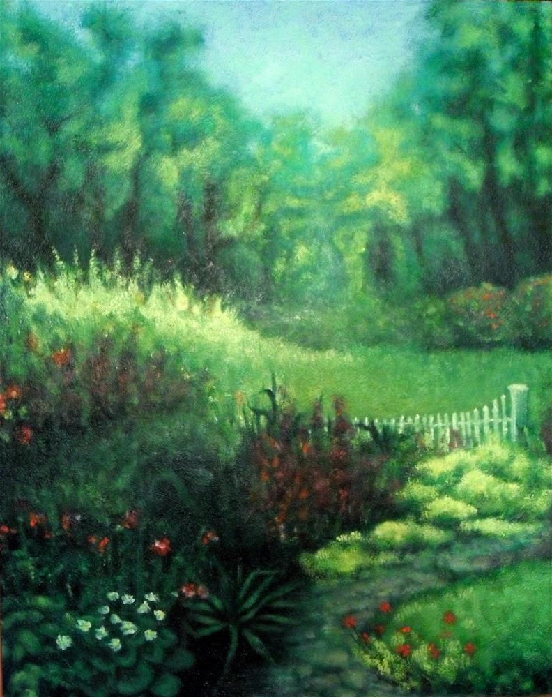 """Back Garden"" original fine art by Karen Roncari"