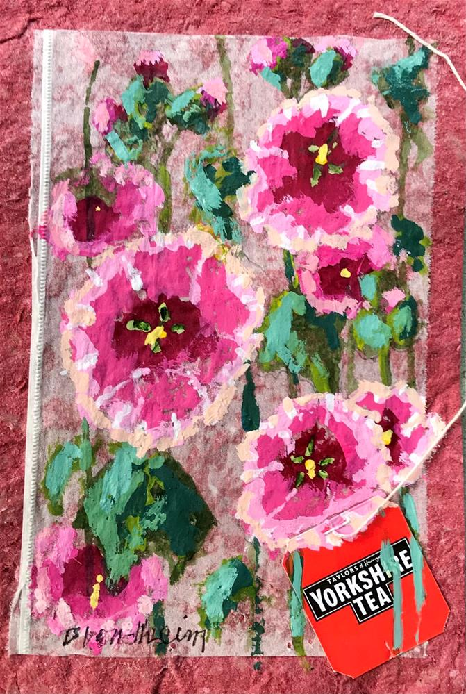 """Hollyhocks"" original fine art by Linda Blondheim"
