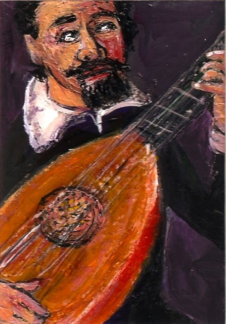 """ACEO Lute Player in the style of Leandro Bassano SFA Miniature Penny StewArt"" original fine art by Penny Lee StewArt"