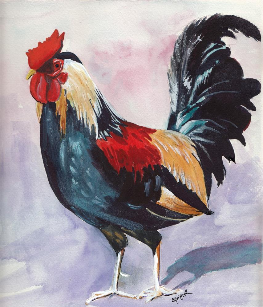 """""""Rooster"""" original fine art by Bunny Griffeth"""