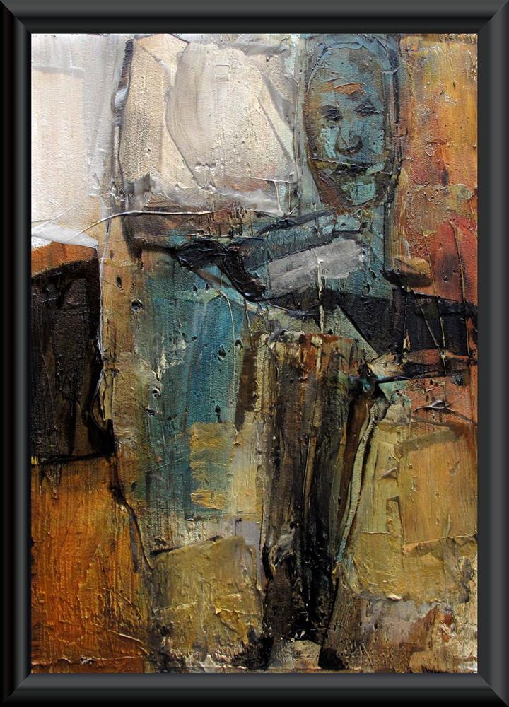 """THE MAESTRO Original ABSTRACT FIGURE PORTAIT 5X7 Art Painting OIL"" original fine art by Colette Davis"