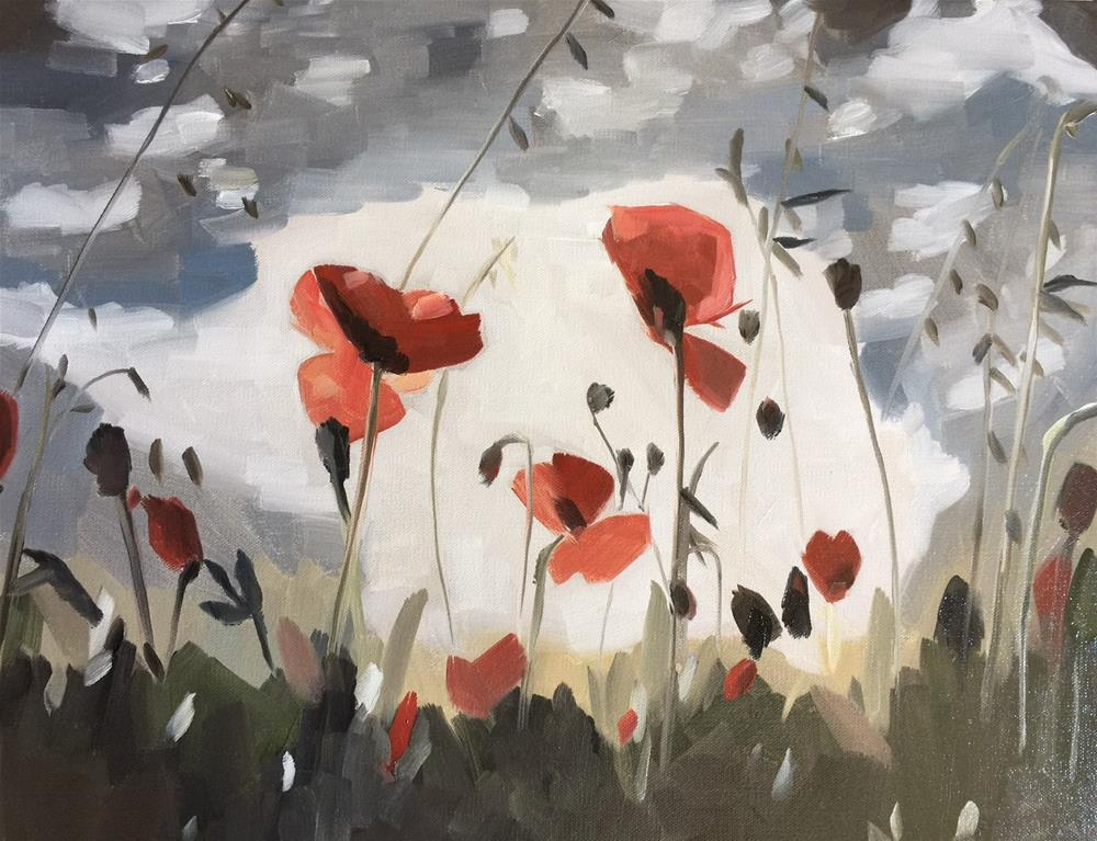 """""""287 Field of Poppies"""" original fine art by Jenny Doh"""
