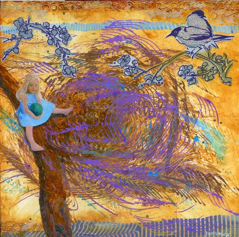 """""""ORIGINAL PAINTING COLLAGE NEST WITH CHILD"""" original fine art by Sue Furrow"""