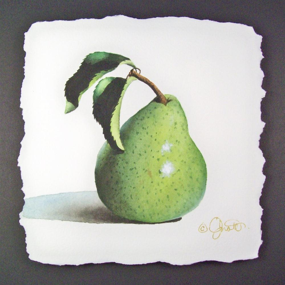 """Pear with Leaves"" original fine art by Jacqueline Gnott, TWSA, WHS"