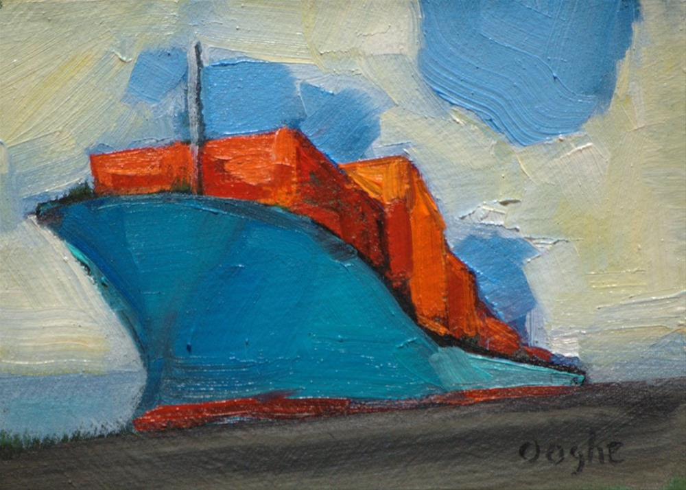 """""""Container Ship in Port"""" original fine art by Angela Ooghe"""
