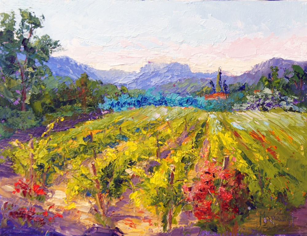 """""""Vineyard, Waiting for the Bees"""" original fine art by Marion Hedger"""