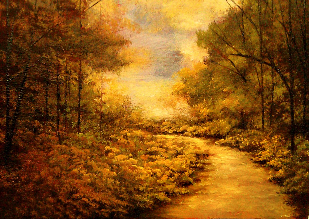 """""""A Curved Trail in the Woods"""" original fine art by Bob Kimball"""