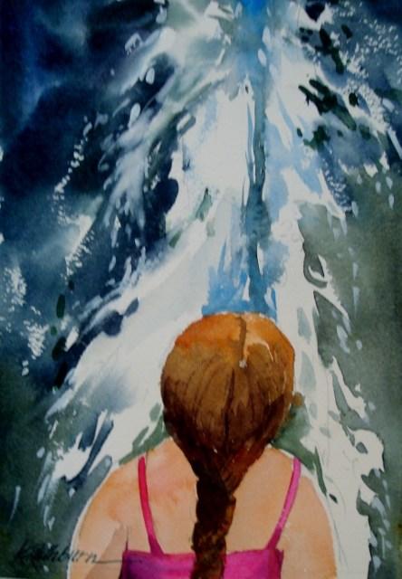 """Sprinkler Girl"" original fine art by Kathy Los-Rathburn"