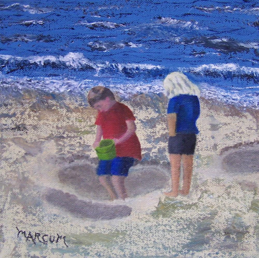"""Busy Day at the Beach"" original fine art by John Marcum"