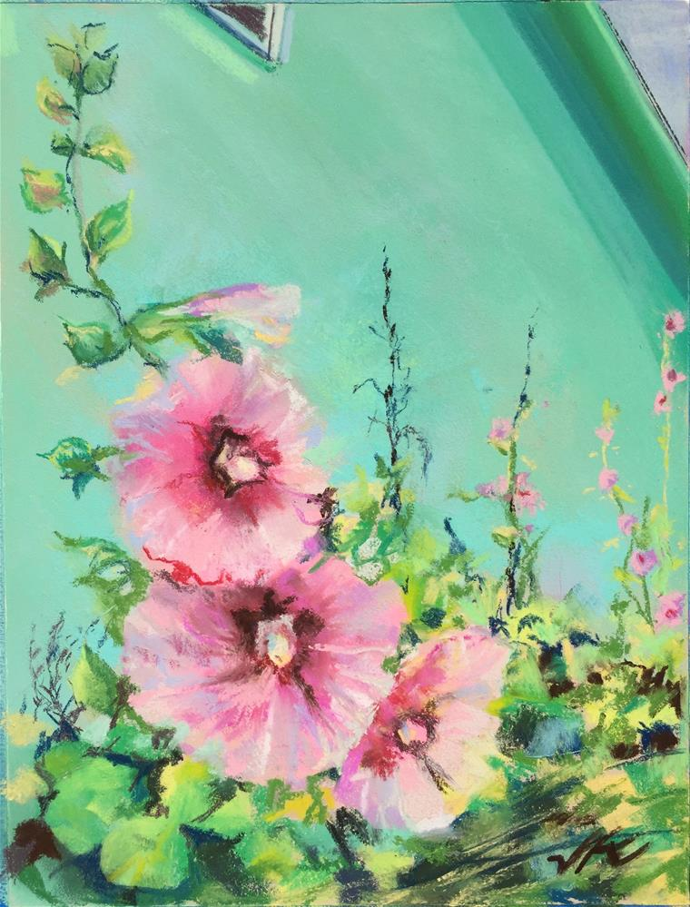 """Pink Hollyhocks"" original fine art by Jean Krueger"
