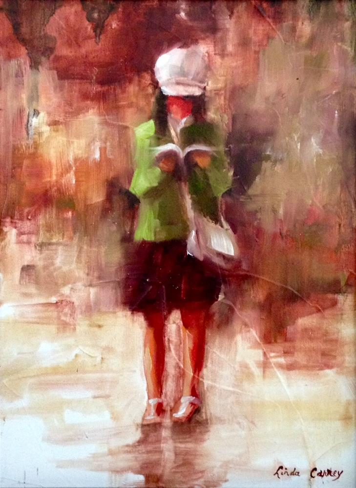 """Distracted by Fiction"" original fine art by Linda Carney"