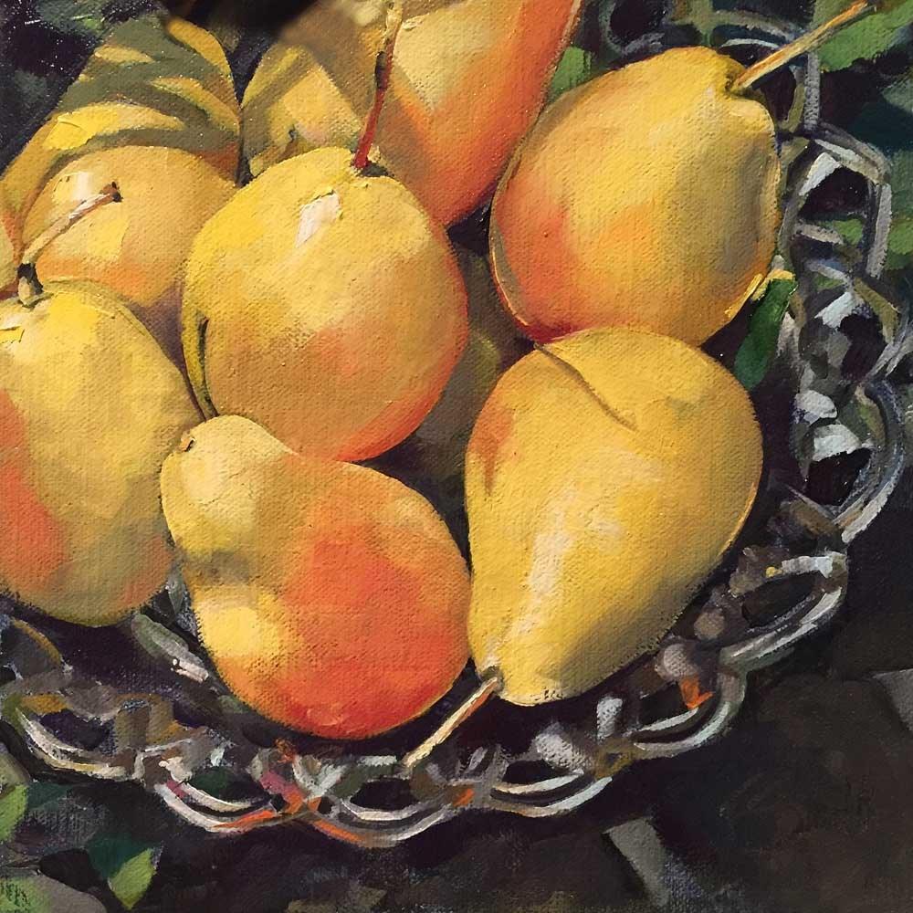 """pear bowl"" original fine art by Kim Smith"