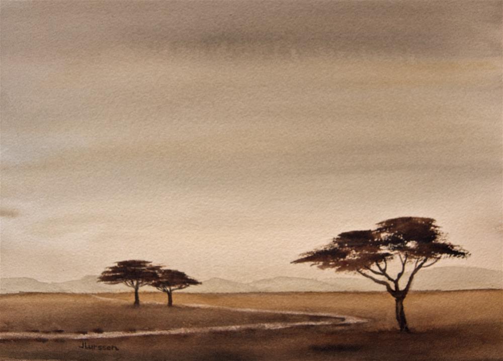 """Savannah Dusk"" original fine art by Jean Lurssen"