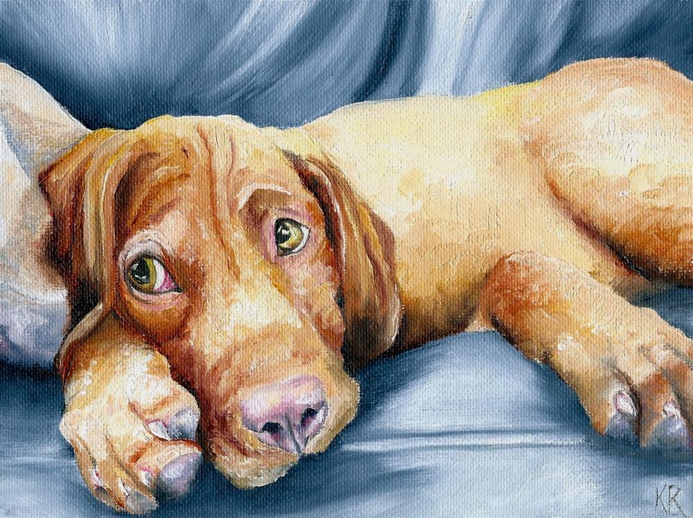 """""""Vizsla (puppy)"""" original fine art by Karen Robinson"""