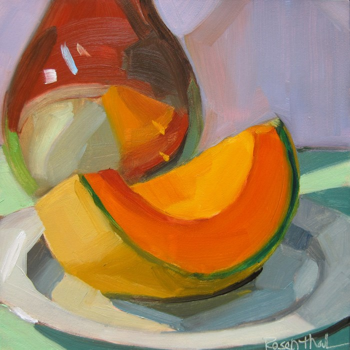 """""""Cantaloupe and Brown Bottle"""" original fine art by Robin Rosenthal"""
