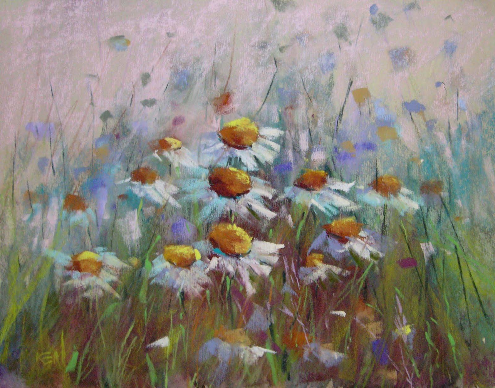 """Nantucket Daisies...my latest wildflower painting"" original fine art by Karen Margulis"