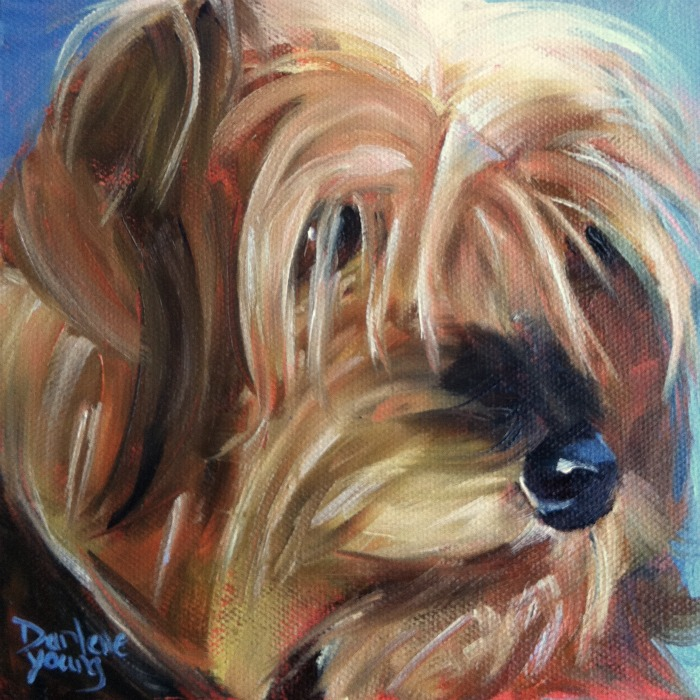 """""""The Best Dog in The World #3, oil on canvas board, 6x6"""" original fine art by Darlene Young"""