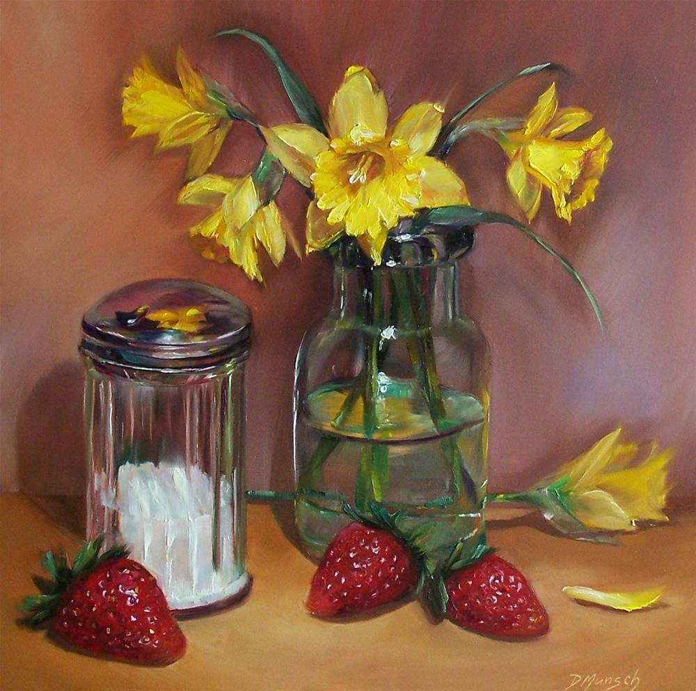 """""""Daffodils and Strawberries"""" original fine art by Donna Munsch"""