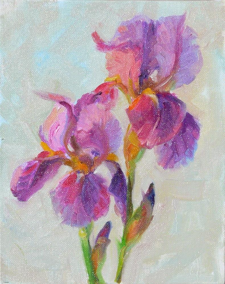 """First Iris,still life,oil on canvas,10x8,price$250"" original fine art by Joy Olney"