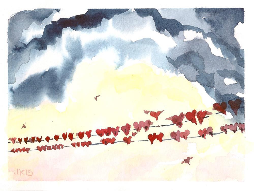 """""""Flock of Hearts free shipping"""" original fine art by Jean Krueger"""