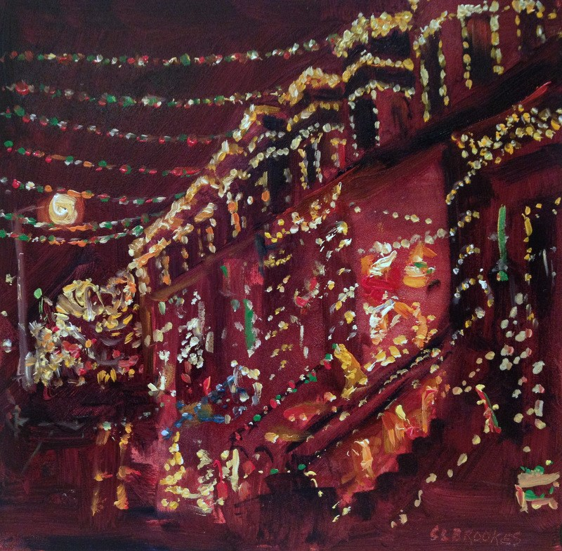 """34th Street Christmas III, Day 77"" original fine art by Claudia L Brookes"