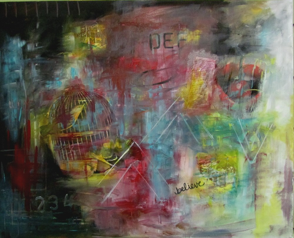 """24 x 30 inch mixed media A Bird in the Hand"" original fine art by Linda Yurgensen"