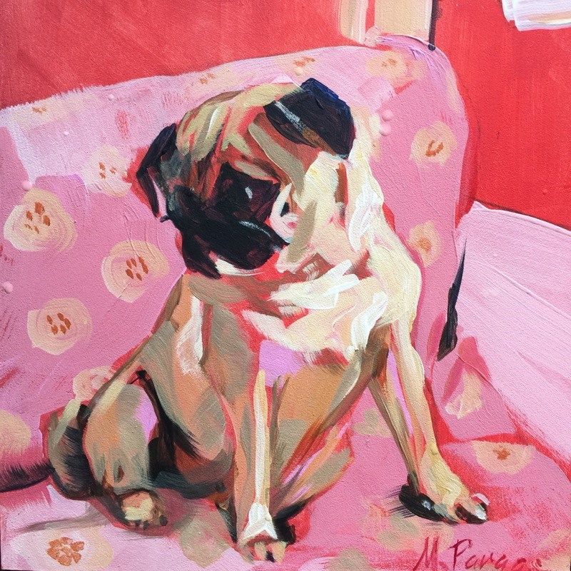 """Pug Sounds"" original fine art by Mary Pargas"