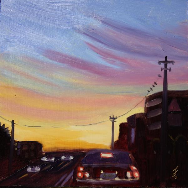 """Post Rush Hour"" original fine art by Jane Frederick"