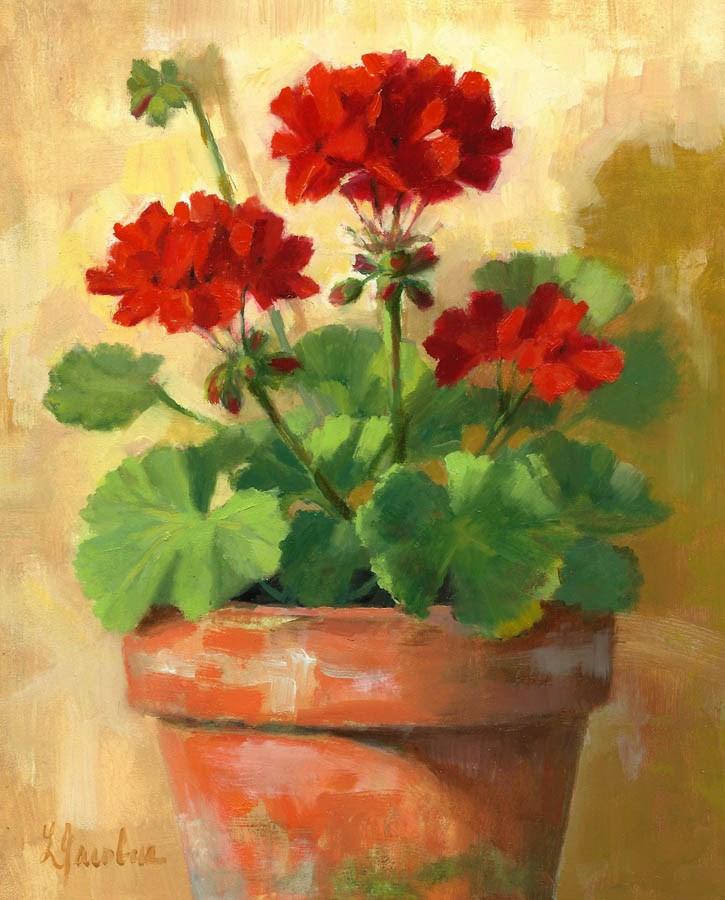 """Geraniums in Red"" original fine art by Linda Jacobus"