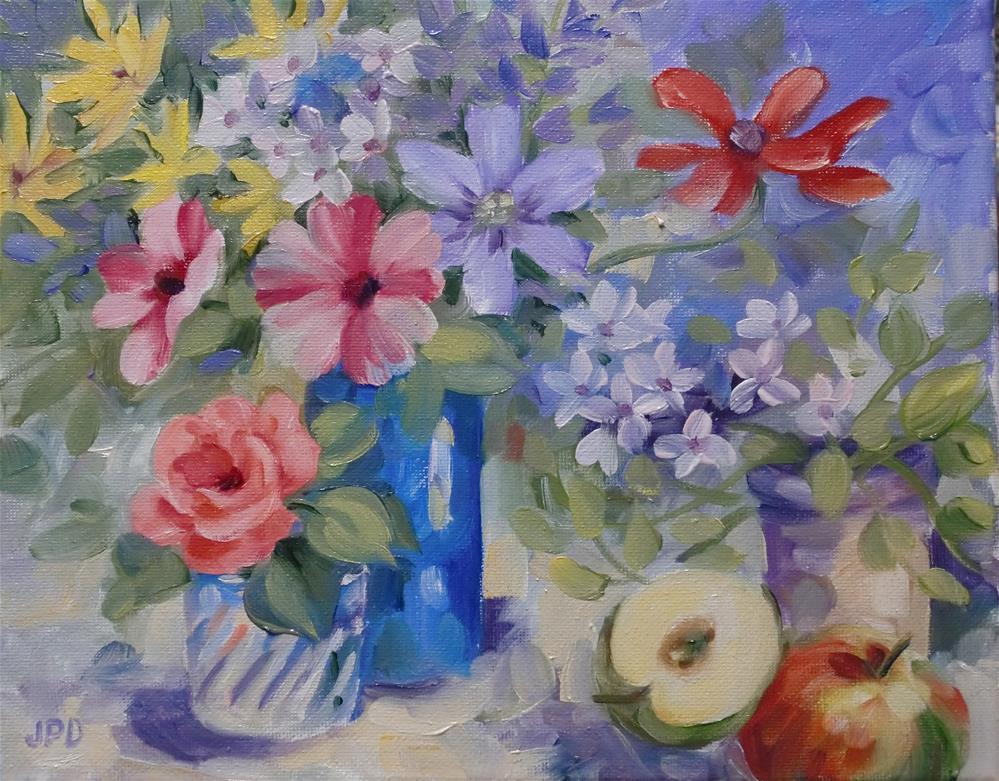 """Blue vase floral"" original fine art by Jean Pierre DeBernay"