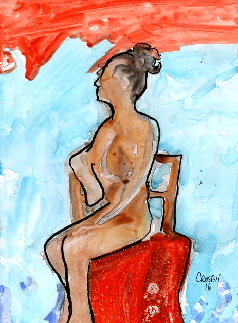 """""""Seated Red Chair"""" original fine art by Donna Crosby"""