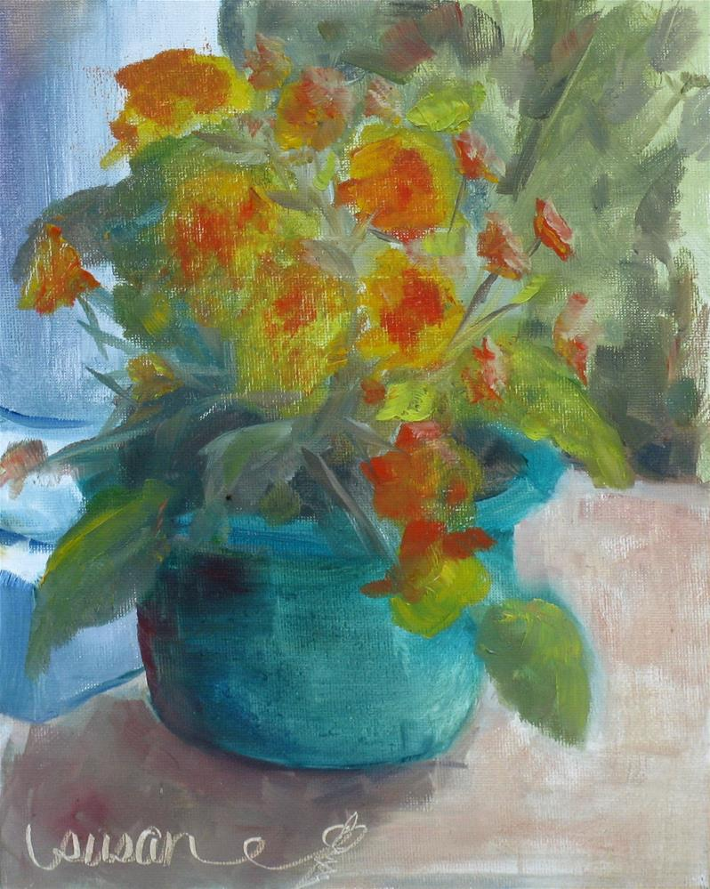 """The Blue Pot"" original fine art by Susan Elizabeth Jones"