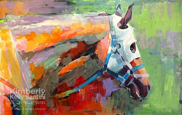 """""""White Blinkers - In Process"""" original fine art by Kimberly Santini"""