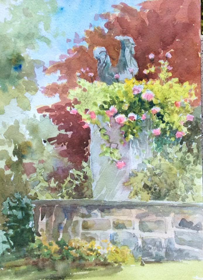 """Rooster on a Pedestal"" original fine art by Marita Hines"