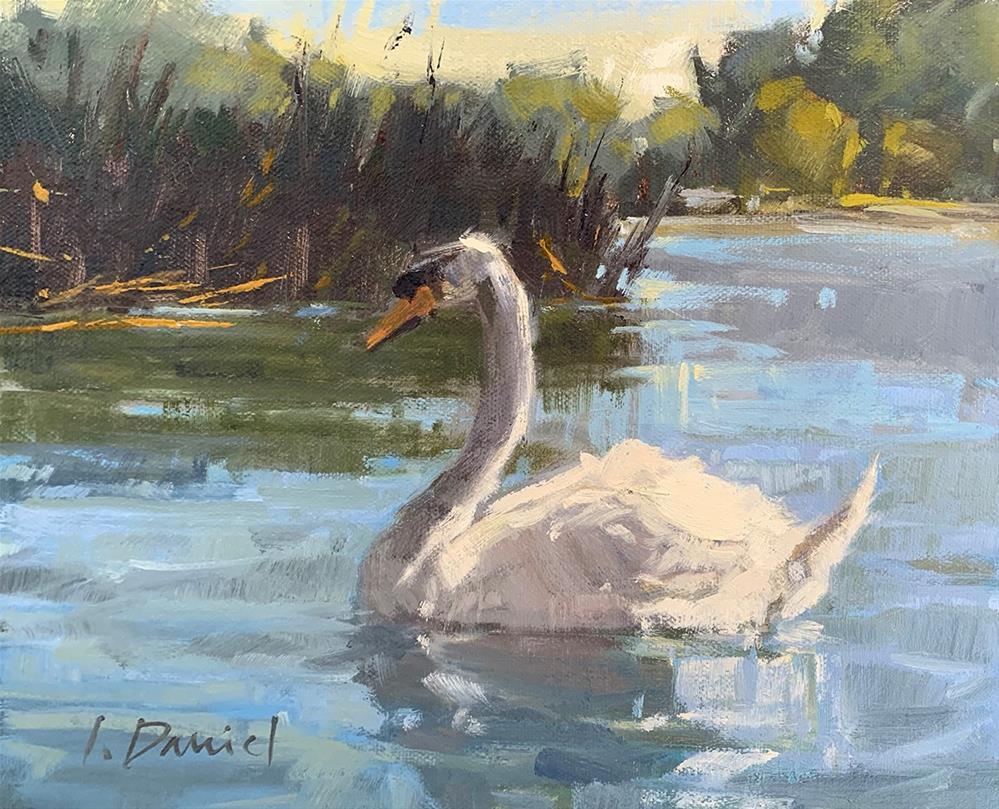 """Lake Swan - Fix It Friday #25!"" original fine art by Laurel Daniel"