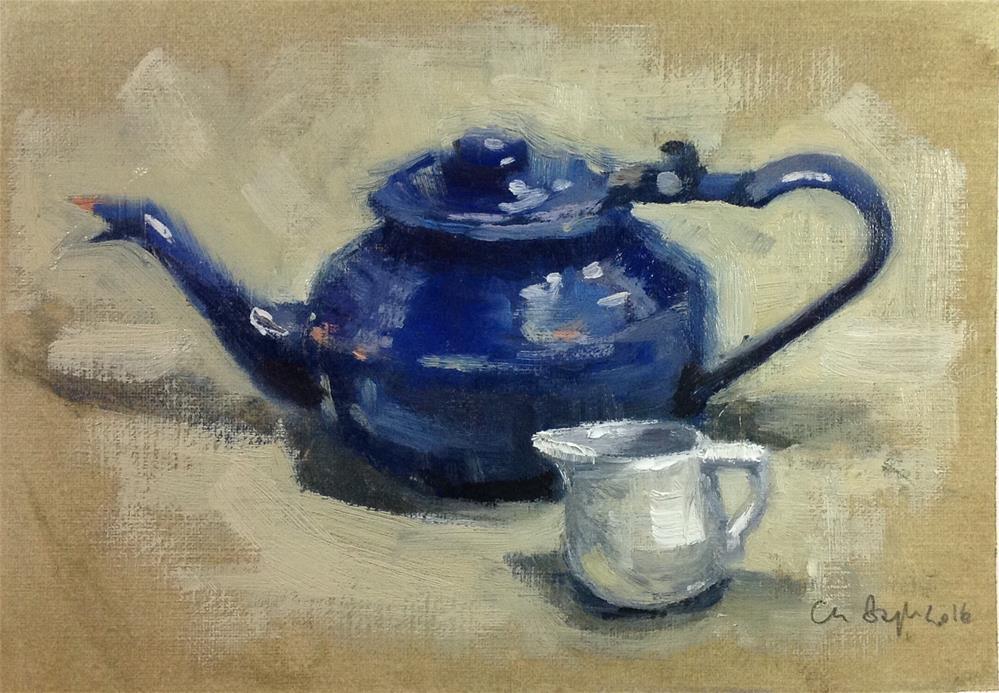"""Blue tea pot"" original fine art by Christine Bayle"